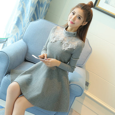 Cute Ball Gown Solid Lace Above Knee Length Turtleneck Winter Knit Sleeve Wool Dress Weeding Dress - Vut Store