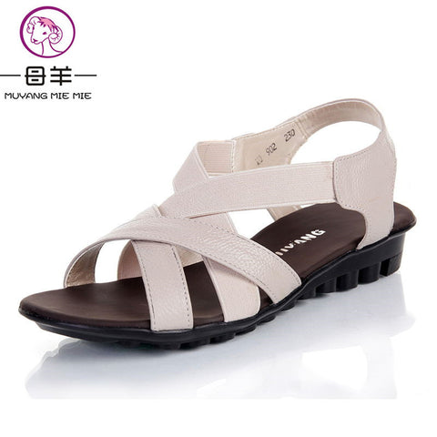 MUYANG MIE MIE Summer Women Flat Shoes of Genuine Leather Casual Comfortable Sandals-Women shoes-VutStore