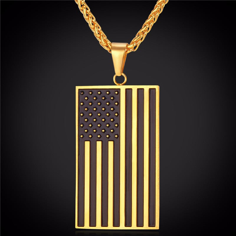 Us National Flag Pendant Necklace For Men Of...