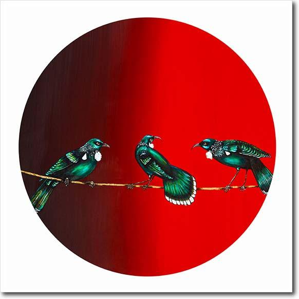 Sway My Way. Limited edition art print by Juliet Best. Red Tuis. NZ