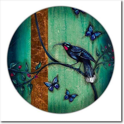 Tapa Huia Chinoiserie. Limited edition art print by Juliet Best. Huia. NZ