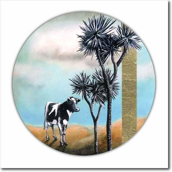 The Wanderer. Limited edition art print by Juliet Best. Cow and Cabbage Trees. NZ