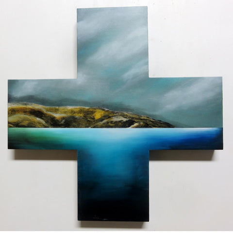 Pencarrow Drift Gold. Painting by Juliet Best. Painting of Pencarrow Heads, Wellington, NZ. Inks, Glazes, Acrylic Resins and Gold Leaf on Cross Board. Unframed. Landscape.