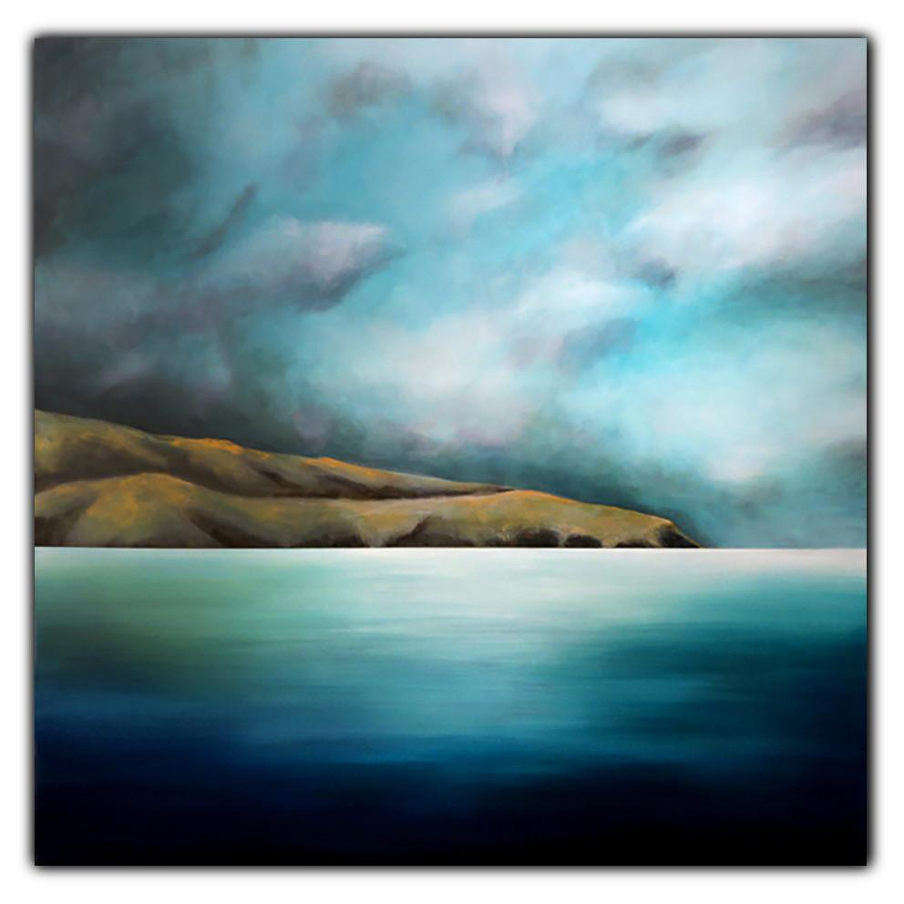 Pencarrow Drift III. Painting by Juliet Best. Painting of Pencarrow Heads, Wellington, NZ. Inks, Glazes and Acrylic Resins on Canvas. Unframed. Landscape.