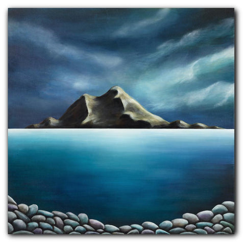 Rock Me In The Arms. Painting by Juliet Best. Painting of Island Bay, Wellington, NZ.  Inks, Glazes and Acrylic Resins on Canvas. Unframed. Landscape.