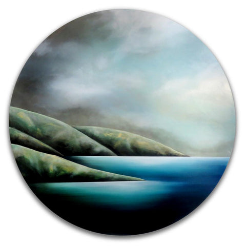 Waharoa. Painting by Juliet Best. Painting of Wellington Heads. Inks, Glazes, Acrylic Resins. Unframed. Landscape