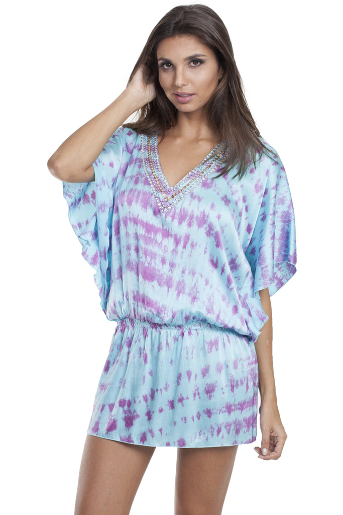 Bangkok Silk Dress Tie Dye Pink
