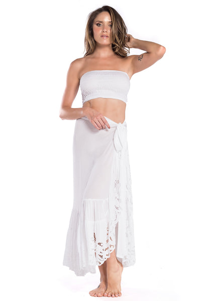 Capri Skirt Embroidery White