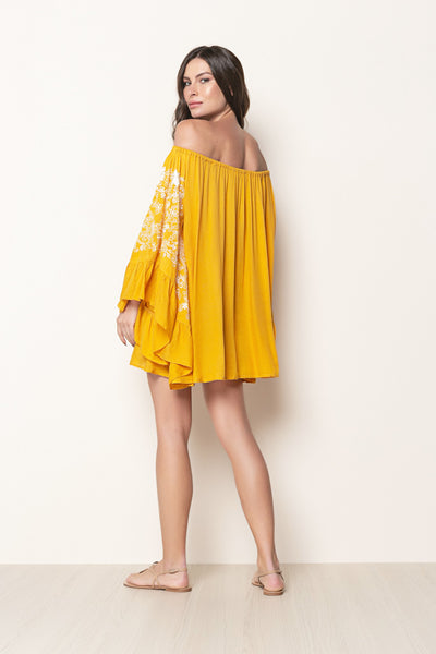 Dress Nathalie Embroidery Dark Yellow