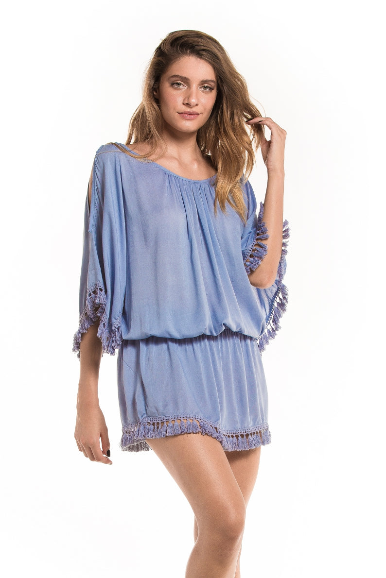 Dress Fringes Blue Ice