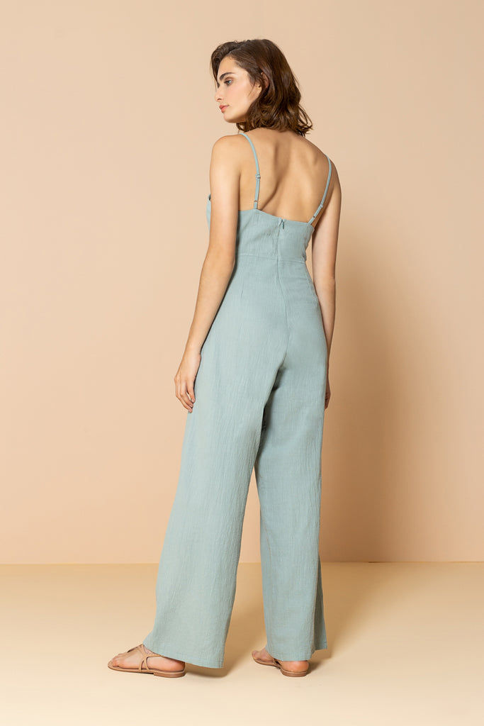 Long Jumpsuit Palm Tree Soft Green