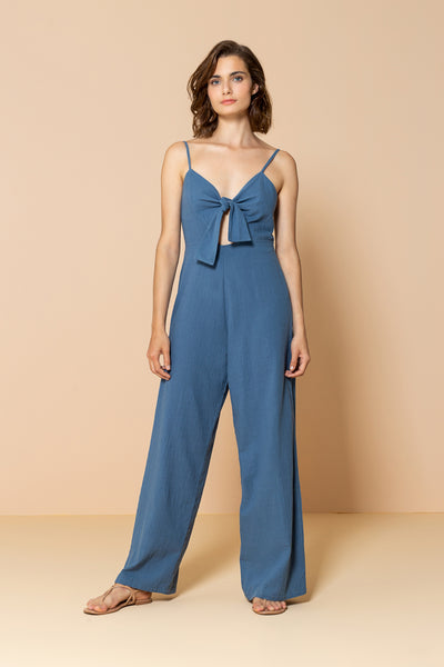 Long Jumpsuit Palm Tree Blue Ocean