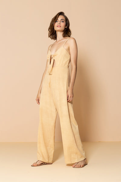 Long Jumpsuit Palm Tree Yellow Sand