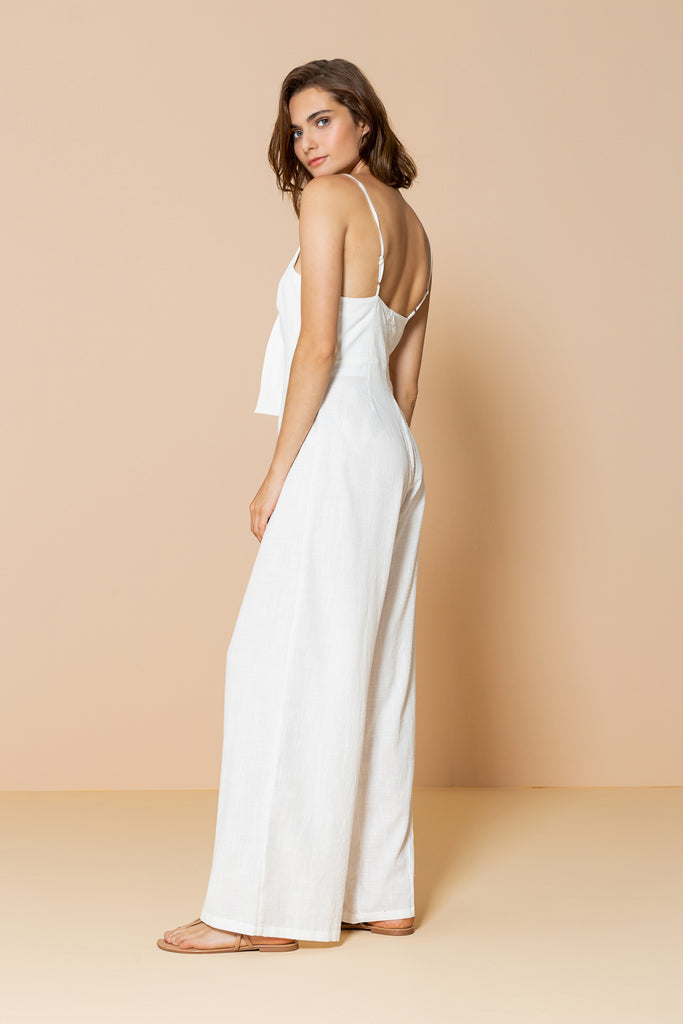 Long Jumpsuit Palm Tree Off White