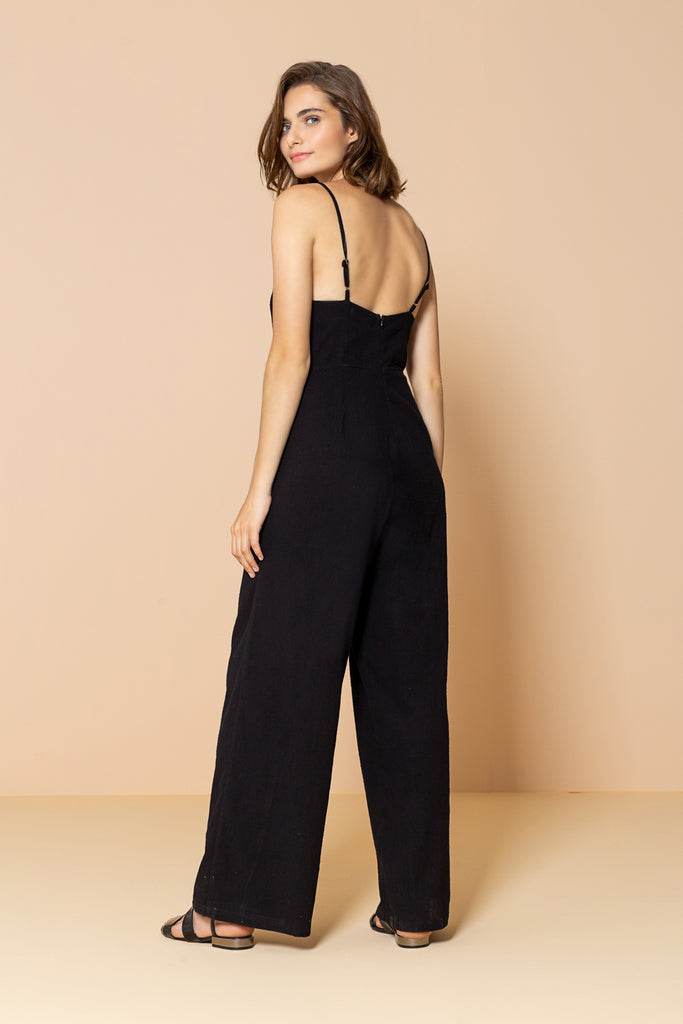 Long Jumpsuit Palm Tree Black