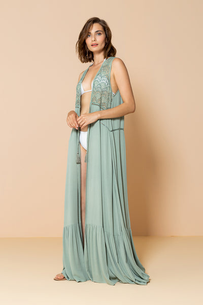 Long Kimono Al Mare Light Green