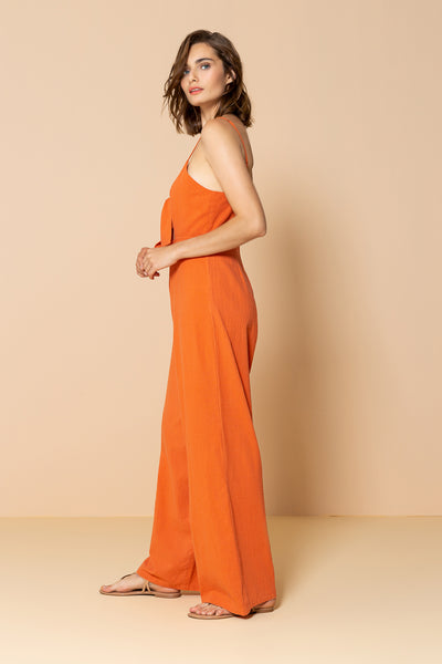 Long Jumpsuit Palm Tree Orange Tile
