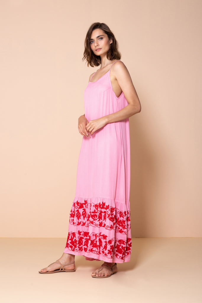 Long Dress Antônia Embroidery Pink
