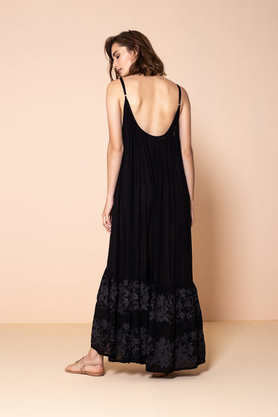 Long Dress Antônia Embroidery Black