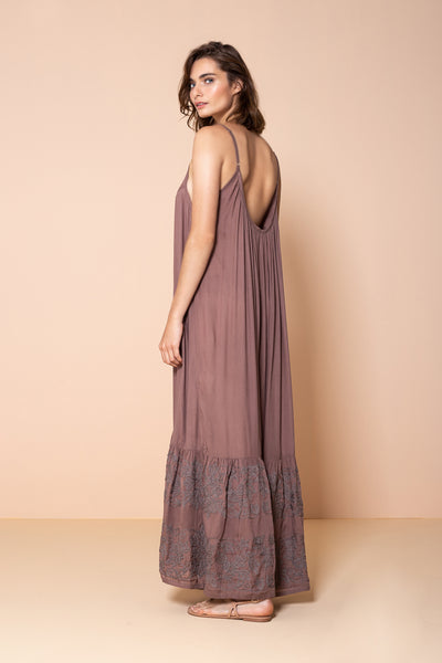 Long Dress Antônia Embroidery Light Brown