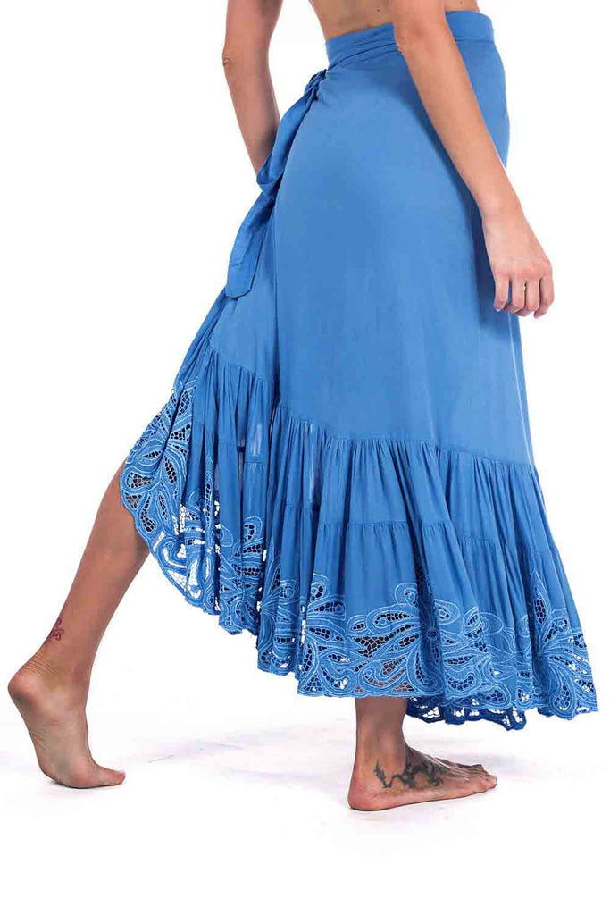 Capri Skirt Embroidery Blue Candy