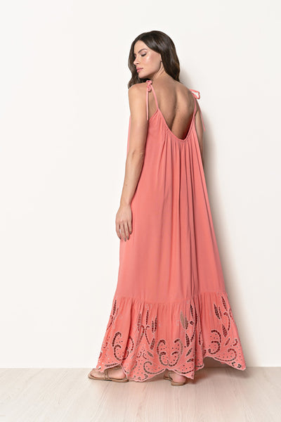 Long Dress Antônia Embroidery Coral Living