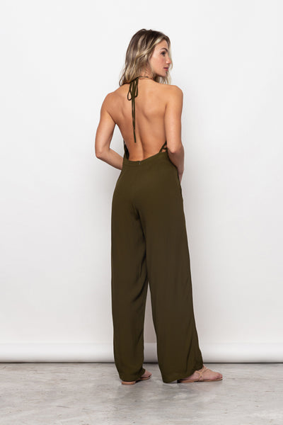 Long Jumpsuit Victória Olive Green