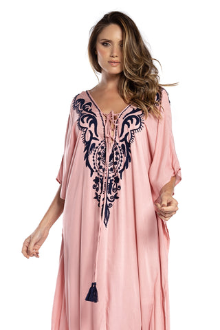 Dress Nathalie Embroidery Old Pink