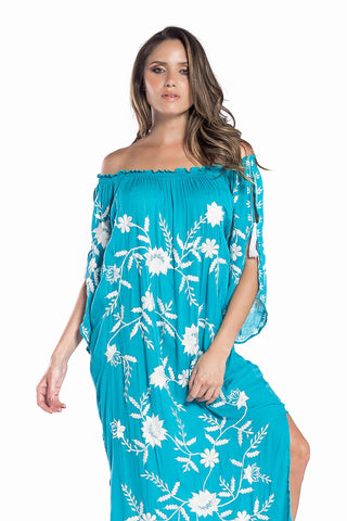 Dress Nathalie Embroidery Acqua