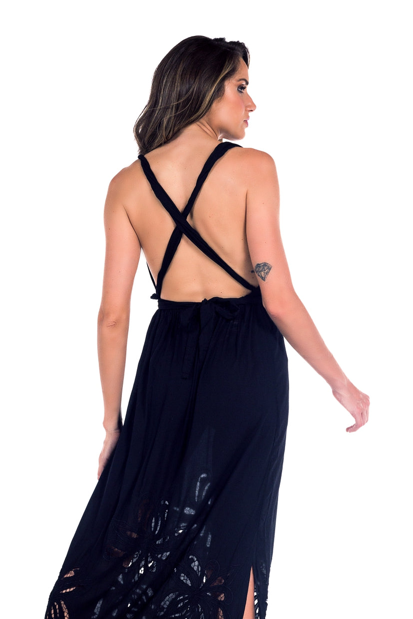Long Dress Antonella Embroidery Black