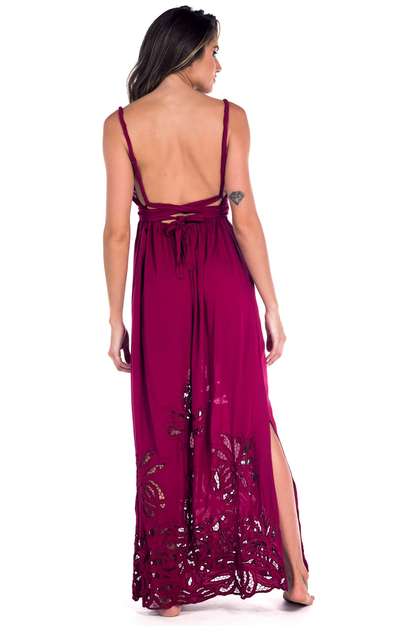 Long Dress Antonella Embroidery Dark Red