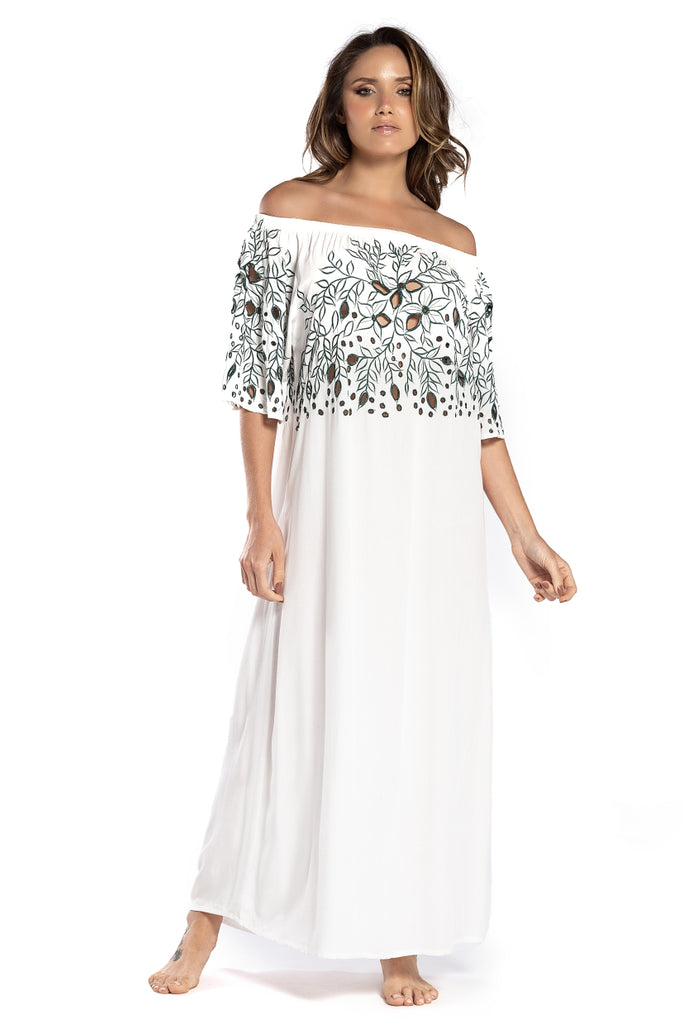 Long Dress Greta White Green