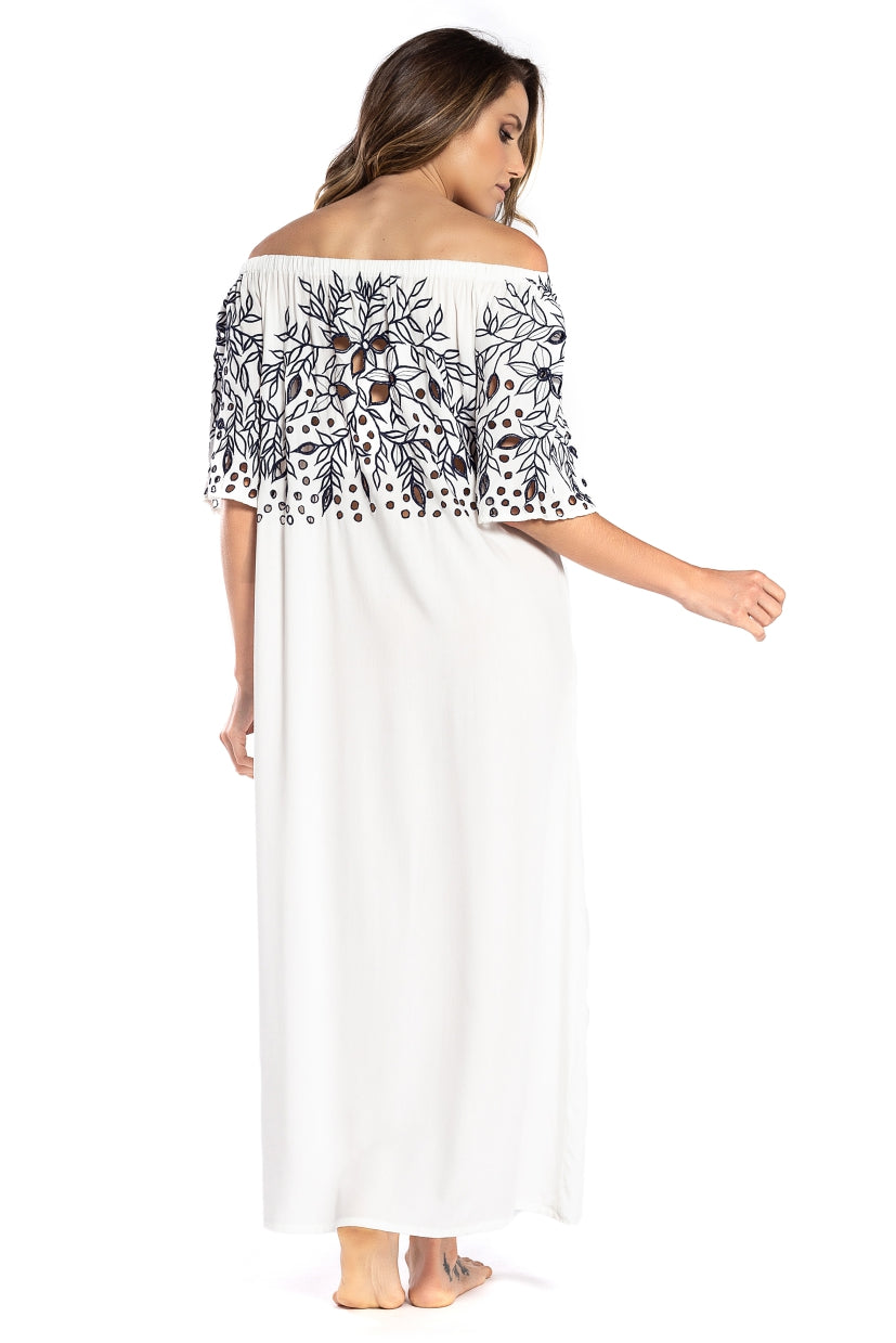 Long Dress Greta White Navy