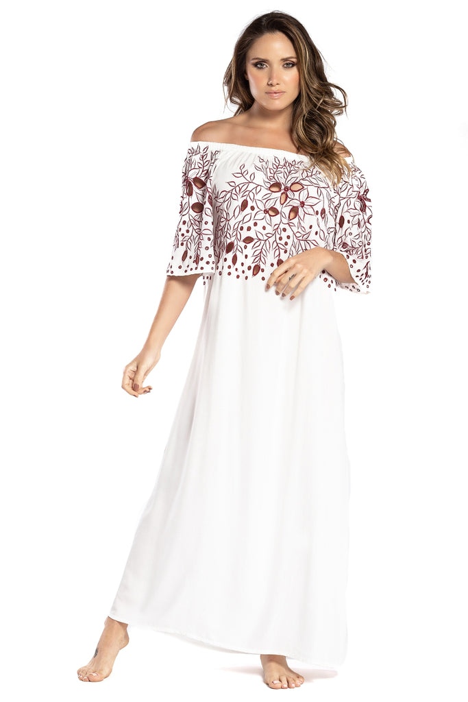 Long Dress Greta White Red