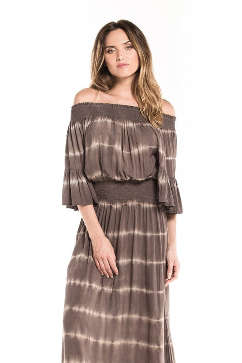 Long Dress Hawaii Tie Dye Dark Brown