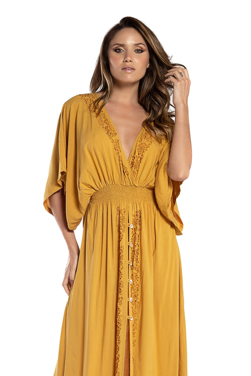 Long Dress Lindsay Dark Yellow