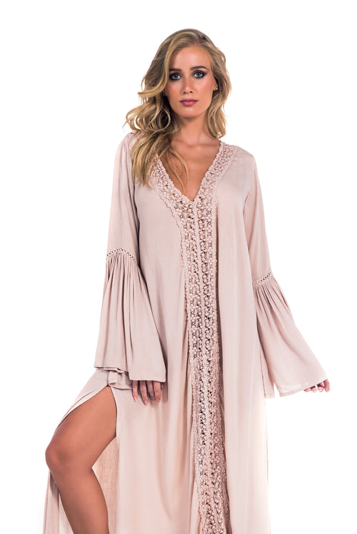 Long Dress Lorena Lace Nude Rosé