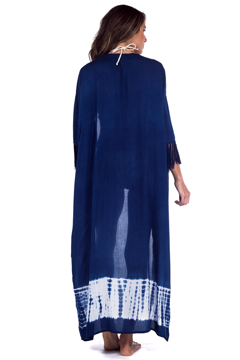 Long Kimono Ocean Tie Dye Navy and White