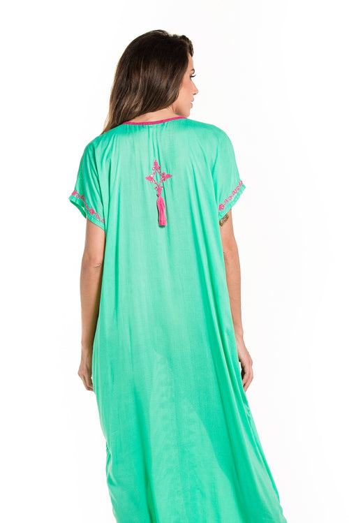 Long Poncho Flower Embroidery Green