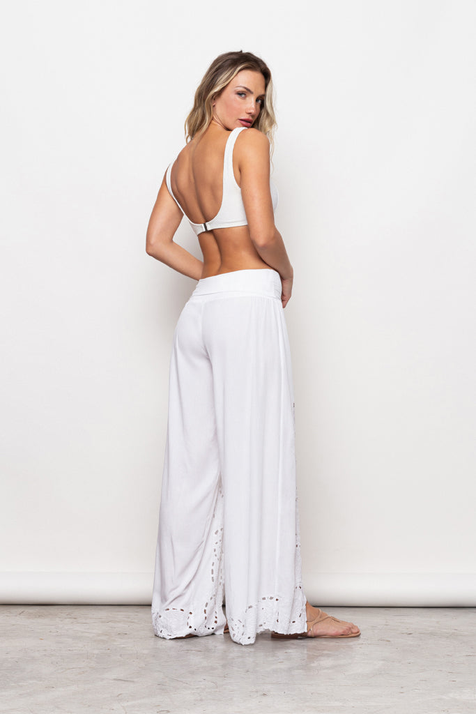 Pant Gisele Embroidery White