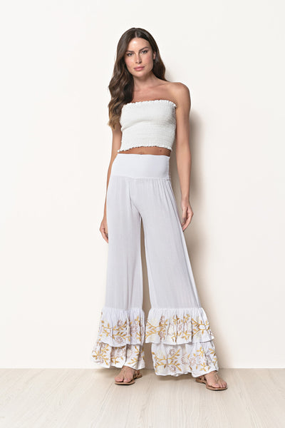 Pant Selena Embroidery White