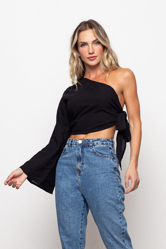 Top One-Shoulder Black