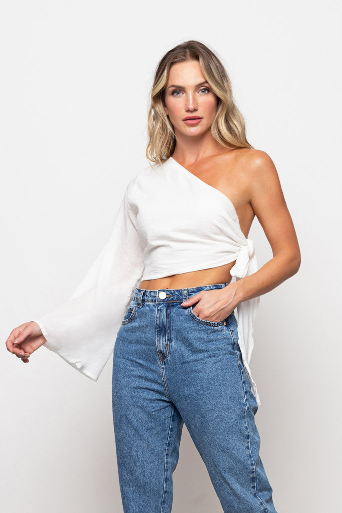 Top One-Shoulder Off White
