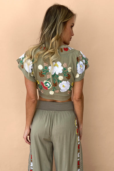 Top Tropical Vintage Green