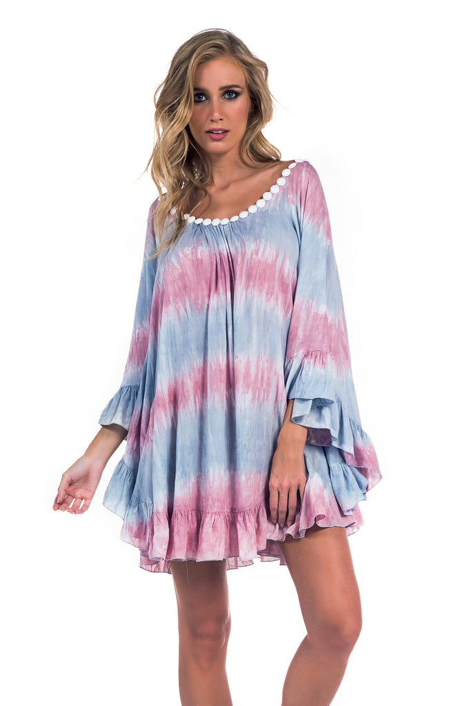 Tunic Phuket Tie Dye Vintage Green and Pink