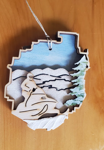 Adirondack Park with Snowmobile Ornament
