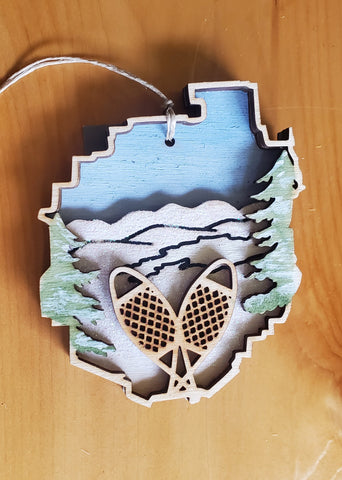 Adirondack Park with Snowshoe Ornament