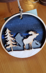 Moose Under the Stars Ornament