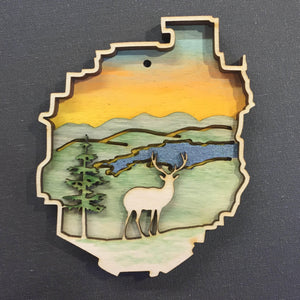 Adirondack Park with Deer Ornament