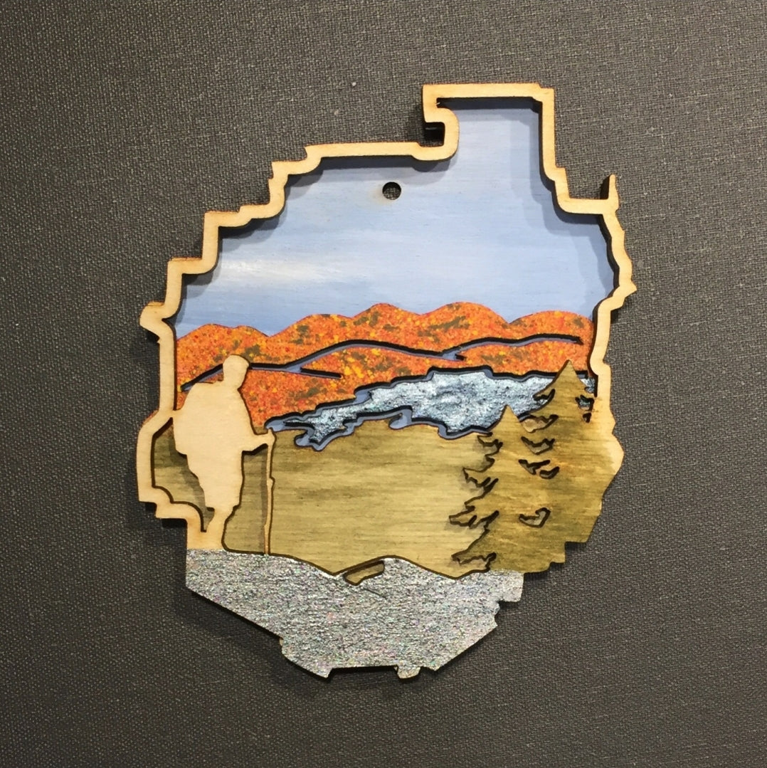 Adirondack Park in Fall with Hiker Ornament